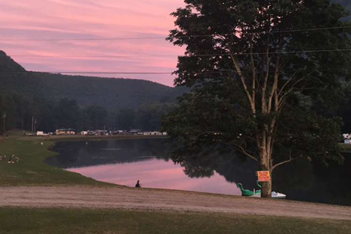 beautiful sunset at stony fork camp in pa