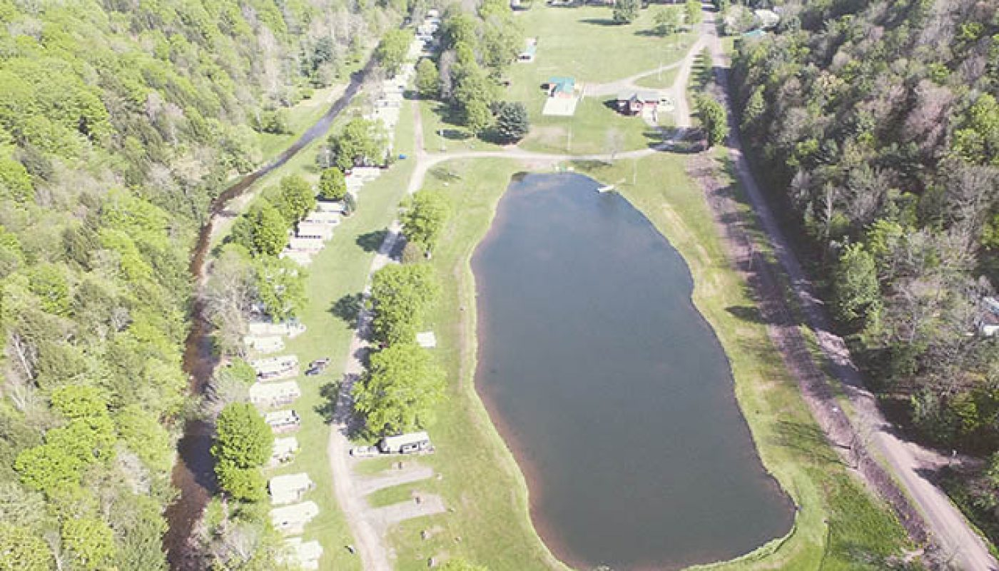 Aerial photo of stony fork campground